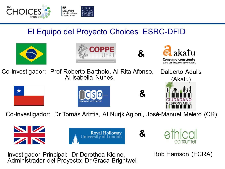 Objetivos de Investigación 1) Explorar cómo el consumo ético es construído, en el discurso y en la práctica, en Chile y Brasil.