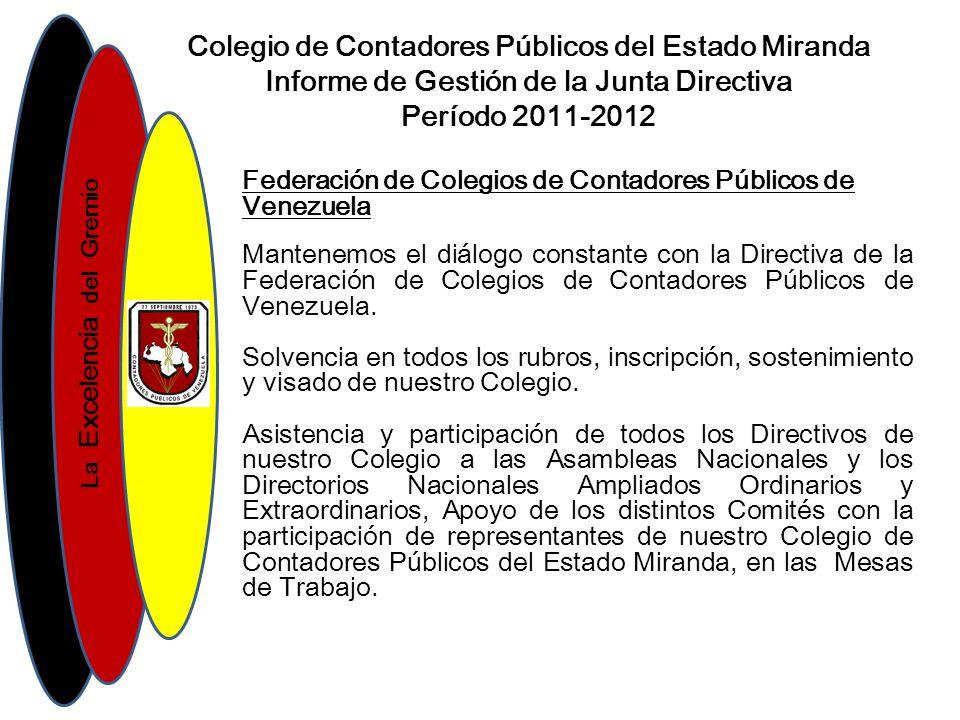 La Excelencia del Gremio Colegio de Contadores Públicos del Estado Miranda Informe de Gestión de la Junta Directiva Período 2011-2012 Federación de Colegios de Contadores Públicos de Venezuela Mantenemos el diálogo constante con la Directiva de la Federación de Colegios de Contadores Públicos de Venezuela.