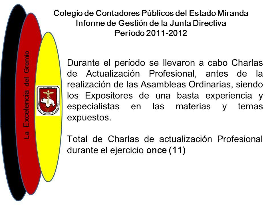 La Excelencia del Gremio Colegio de Contadores Públicos del Estado Miranda Informe de Gestión de la Junta Directiva Período 2011-2012 E/Iniciales 2011-2012 Caja y BancoBs.
