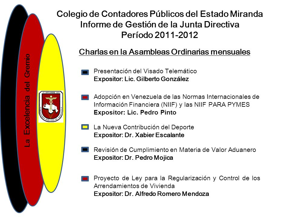 La Excelencia del Gremio Colegio de Contadores Públicos del Estado Miranda Informe de Gestión de la Junta Directiva Período 2011-2012 Gracias por la Atención