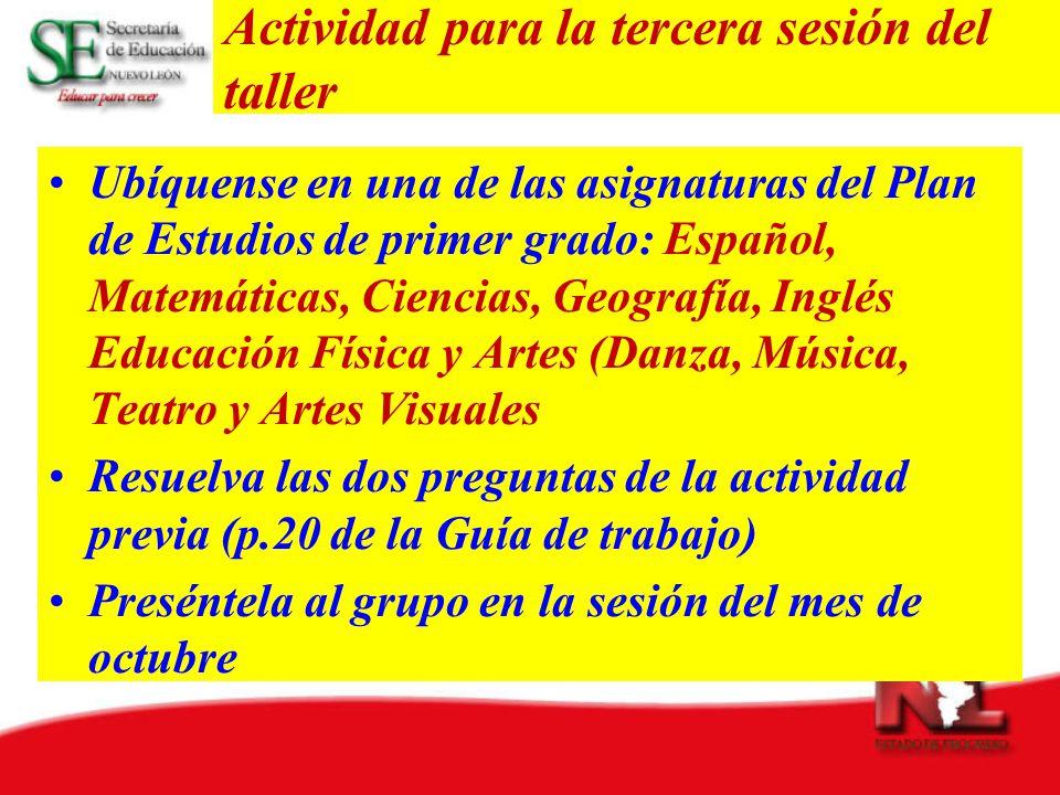 Actividad para la tercera sesión del taller Ubíquense en una de las asignaturas del Plan de Estudios de primer grado: Español, Matemáticas, Ciencias,