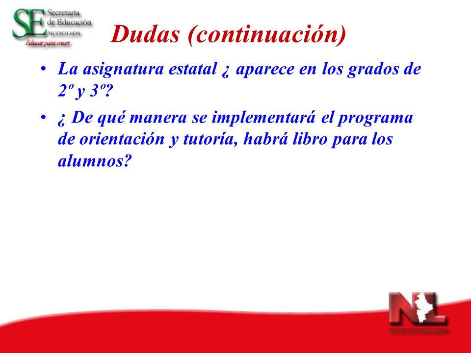 Dudas (continuación) La asignatura estatal ¿ aparece en los grados de 2º y 3º.
