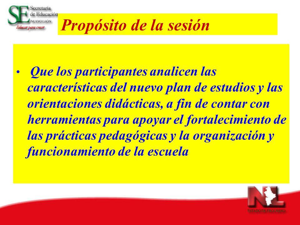 Propósito de la sesión Que los participantes analicen las características del nuevo plan de estudios y las orientaciones didácticas, a fin de contar con herramientas para apoyar el fortalecimiento de las prácticas pedagógicas y la organización y funcionamiento de la escuela