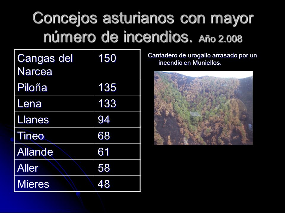 Concejos asturianos con mayor número de incendios.
