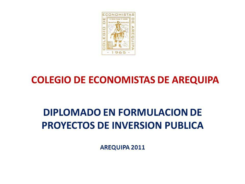 COLEGIO DE ECONOMISTAS DE AREQUIPA DIPLOMADO EN FORMULACION DE PROYECTOS DE INVERSION PUBLICA AREQUIPA 2011