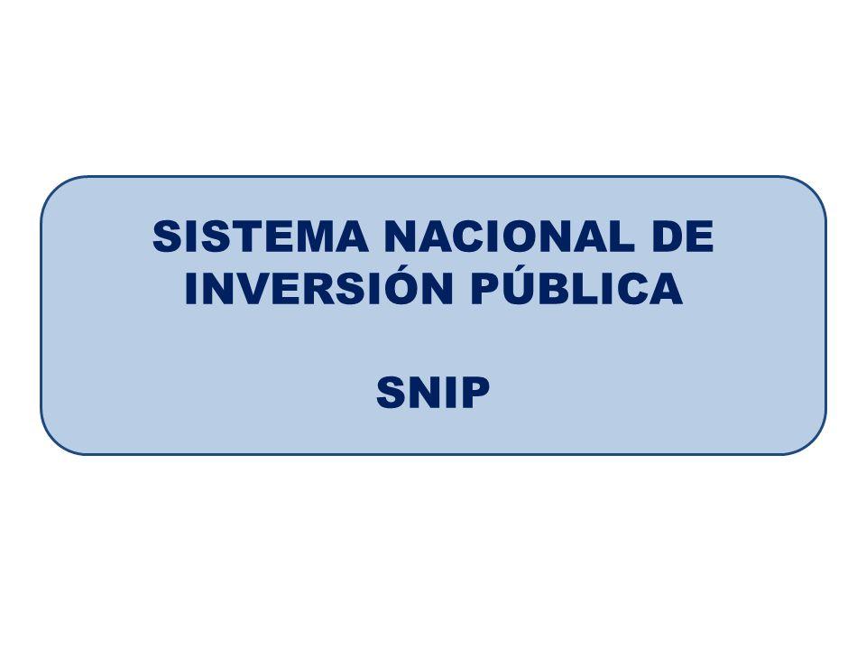 SISTEMA NACIONAL DE INVERSIÓN PÚBLICA SNIP