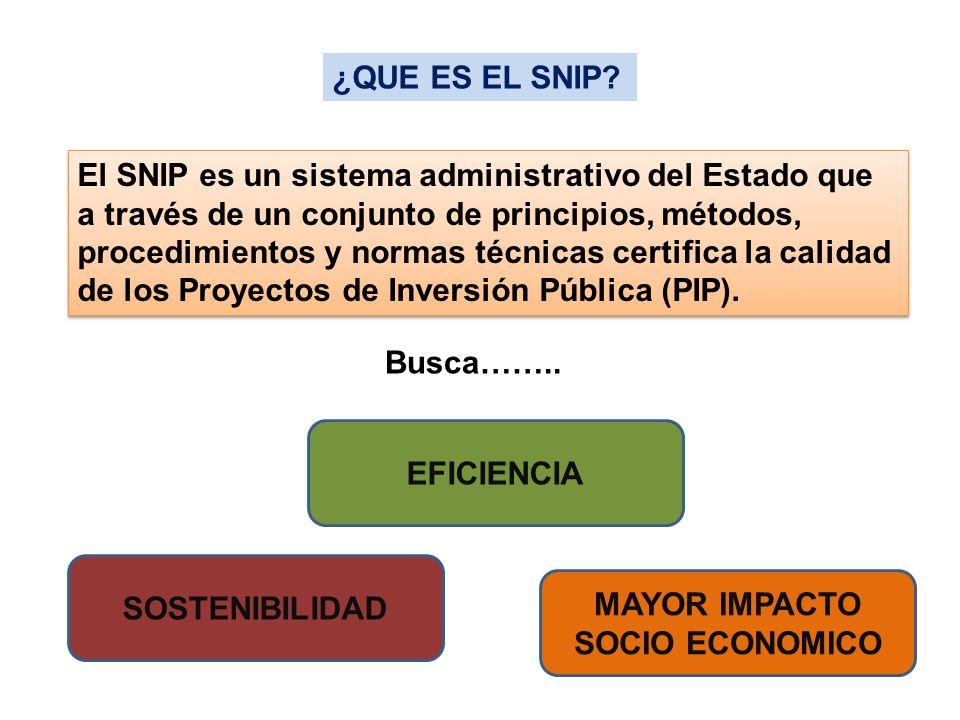 El SNIP es un sistema administrativo del Estado que a través de un conjunto de principios, métodos, procedimientos y normas técnicas certifica la cali