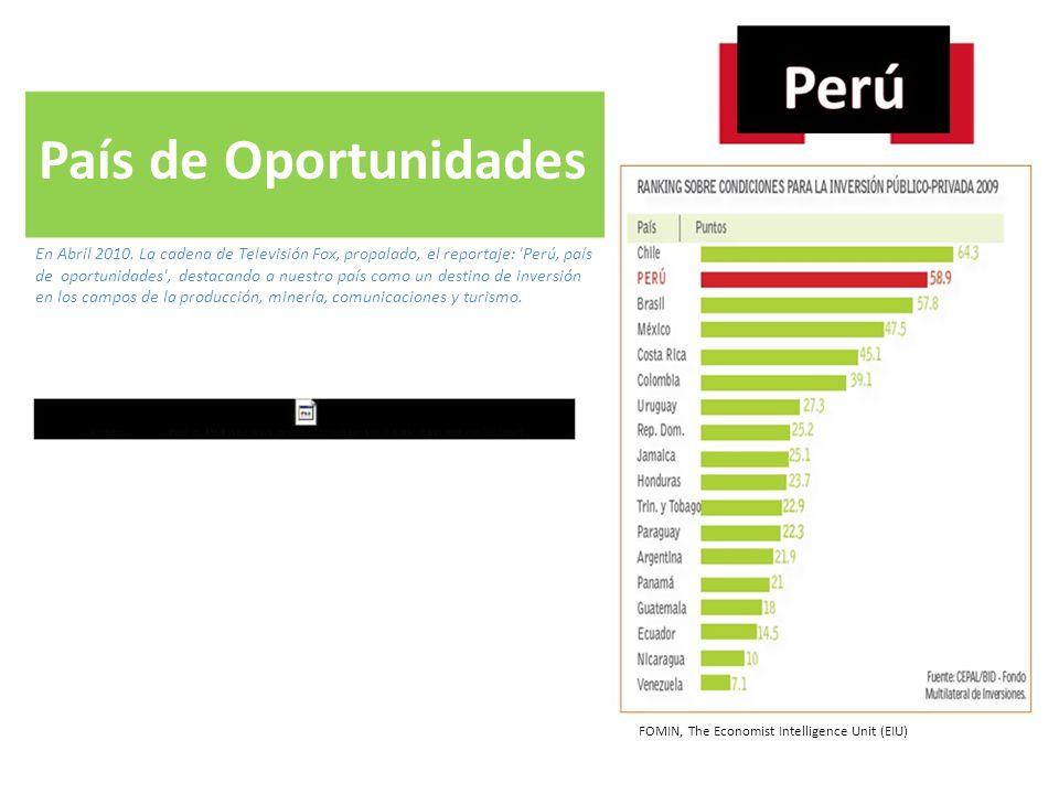 País de Oportunidades En Abril 2010. La cadena de Televisión Fox, propalado, el reportaje: 'Perú, país de oportunidades', destacando a nuestro país co