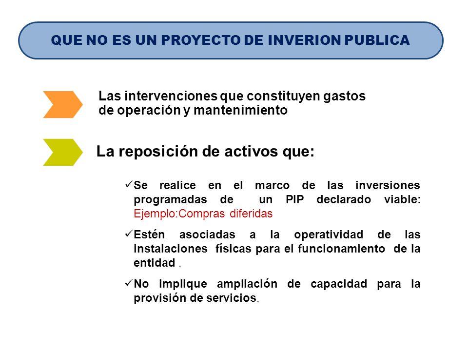 Las intervenciones que constituyen gastos de operación y mantenimiento Se realice en el marco de las inversiones programadas de un PIP declarado viabl