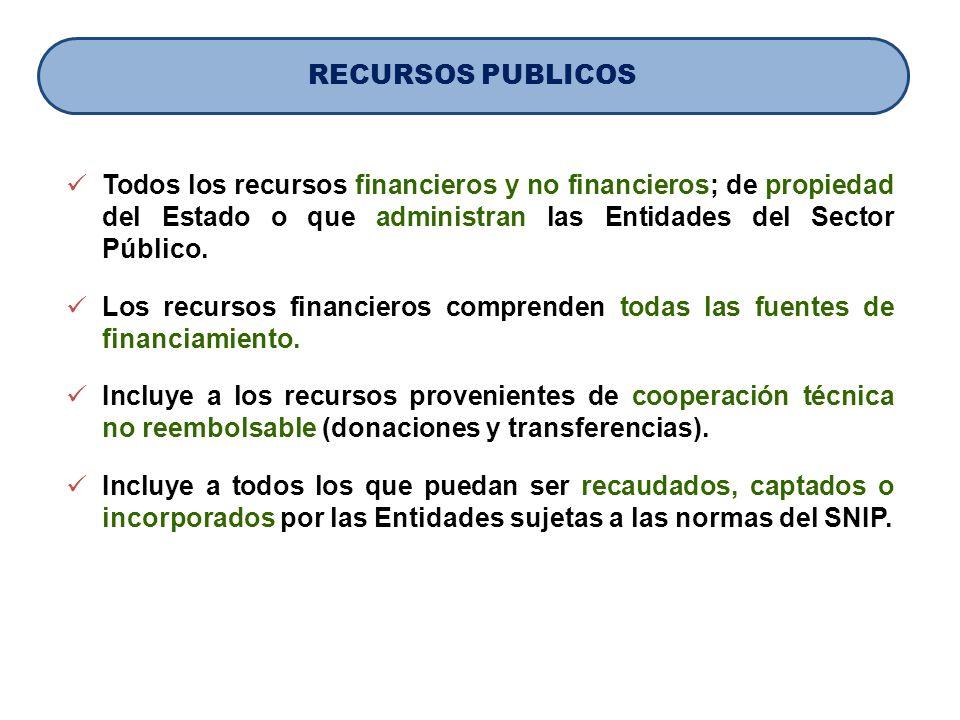 Todos los recursos financieros y no financieros; de propiedad del Estado o que administran las Entidades del Sector Público. Los recursos financieros