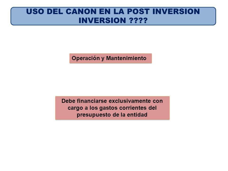 USO DEL CANON EN LA POST INVERSION INVERSION ???? Operación y Mantenimiento Debe financiarse exclusivamente con cargo a los gastos corrientes del pres