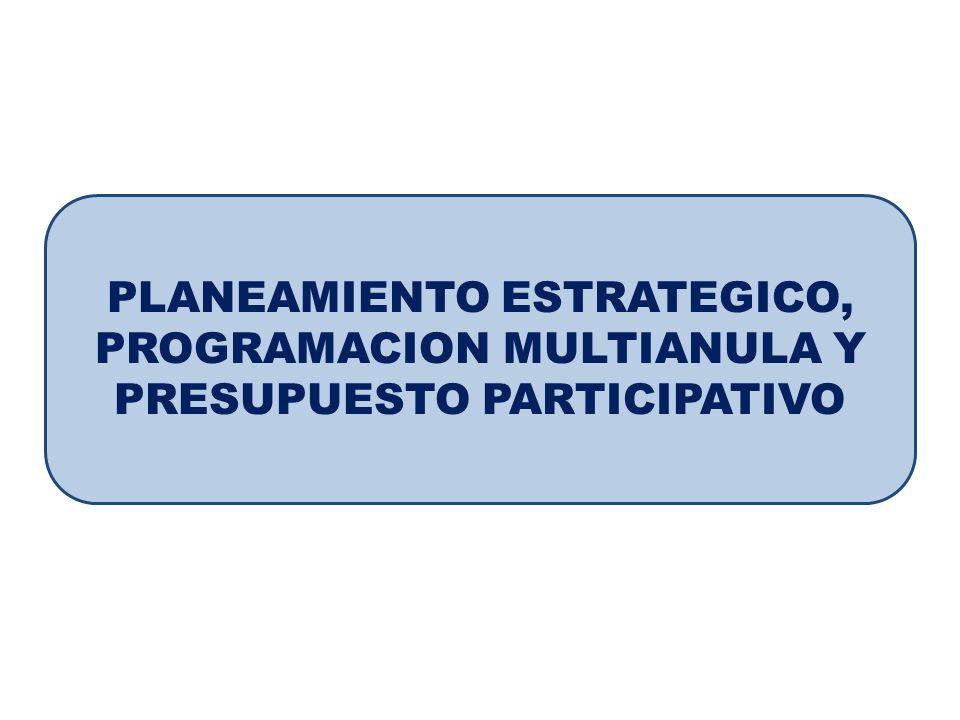 PLANEAMIENTO ESTRATEGICO, PROGRAMACION MULTIANULA Y PRESUPUESTO PARTICIPATIVO