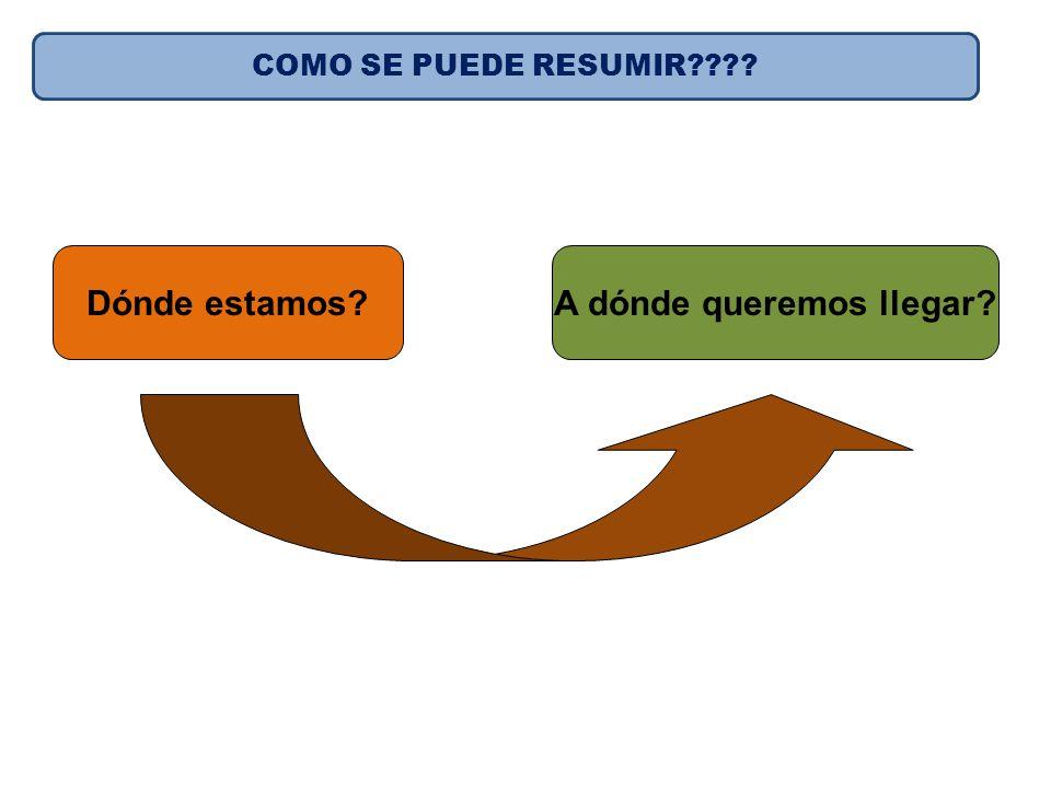 Dónde estamos?A dónde queremos llegar? Cómo lo hacemos? Resumiendo COMO SE PUEDE RESUMIR????