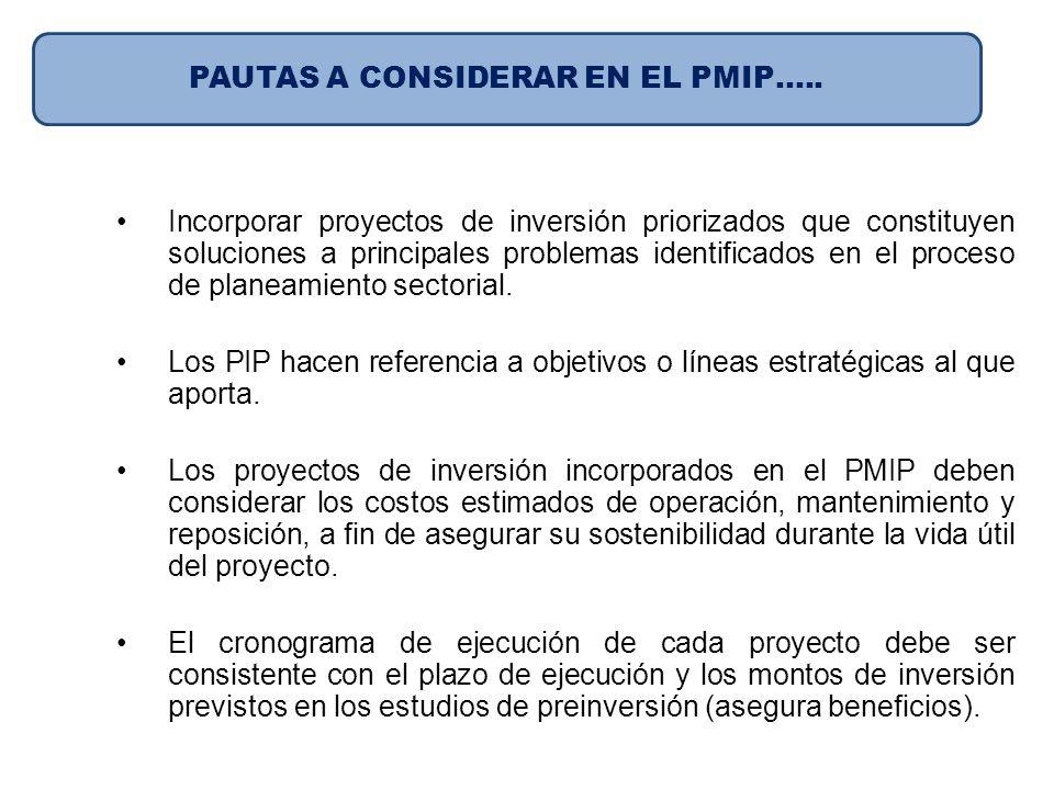 Incorporar proyectos de inversión priorizados que constituyen soluciones a principales problemas identificados en el proceso de planeamiento sectorial