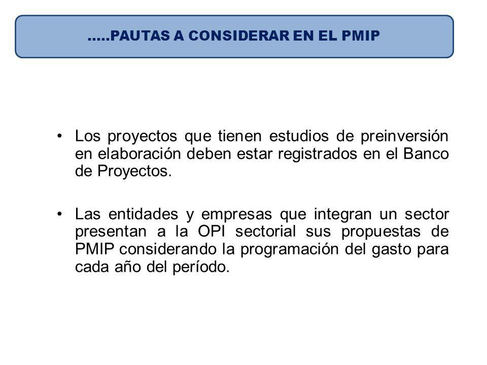 Los proyectos que tienen estudios de preinversión en elaboración deben estar registrados en el Banco de Proyectos. Las entidades y empresas que integr