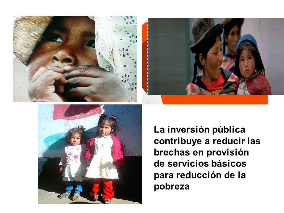 La inversión pública contribuye a reducir las brechas en provisión de servicios básicos para reducción de la pobreza