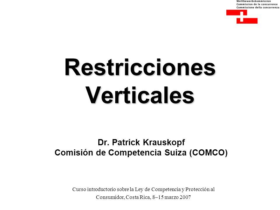 Curso introductorio sobre la Ley de Competencia y Protección al Consumidor, Costa Rica, 8-15 marzo 2007 Restricciones Verticales Dr. Patrick Krauskopf