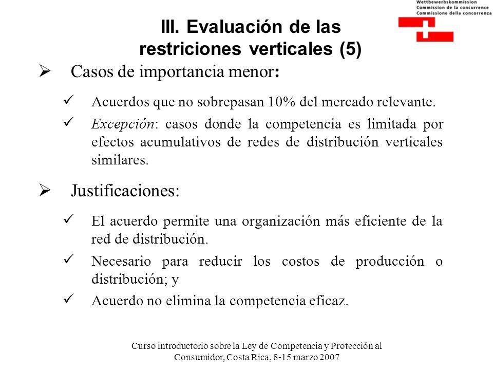 Curso introductorio sobre la Ley de Competencia y Protección al Consumidor, Costa Rica, 8-15 marzo 2007 III. Evaluación de las restriciones verticales