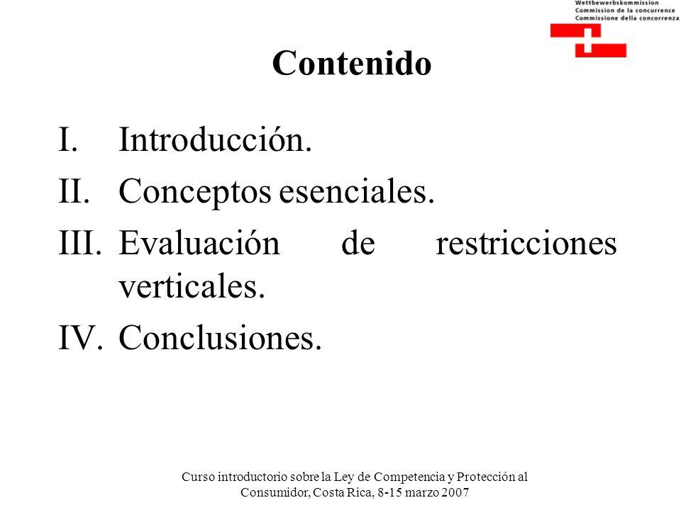 Curso introductorio sobre la Ley de Competencia y Protección al Consumidor, Costa Rica, 8-15 marzo 2007 Contenido I.Introducción. II.Conceptos esencia