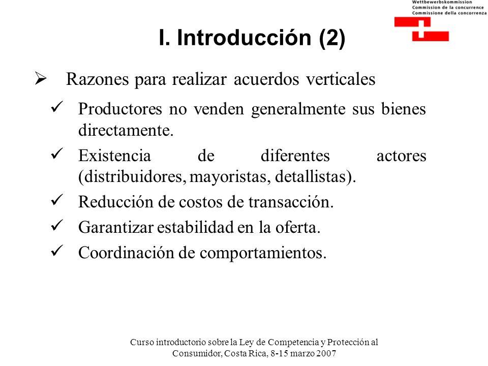 Curso introductorio sobre la Ley de Competencia y Protección al Consumidor, Costa Rica, 8-15 marzo 2007 I. Introducción (2) Productores no venden gene