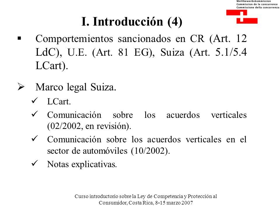 Curso introductorio sobre la Ley de Competencia y Protección al Consumidor, Costa Rica, 8-15 marzo 2007 I. Introducción (4) Comportemientos sancionado