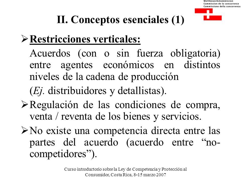 Curso introductorio sobre la Ley de Competencia y Protección al Consumidor, Costa Rica, 8-15 marzo 2007 II. Conceptos esenciales (1) Restricciones ver