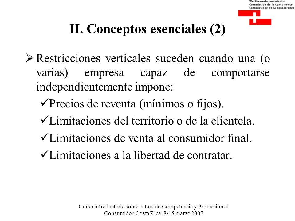 Curso introductorio sobre la Ley de Competencia y Protección al Consumidor, Costa Rica, 8-15 marzo 2007 II. Conceptos esenciales (2) Restricciones ver