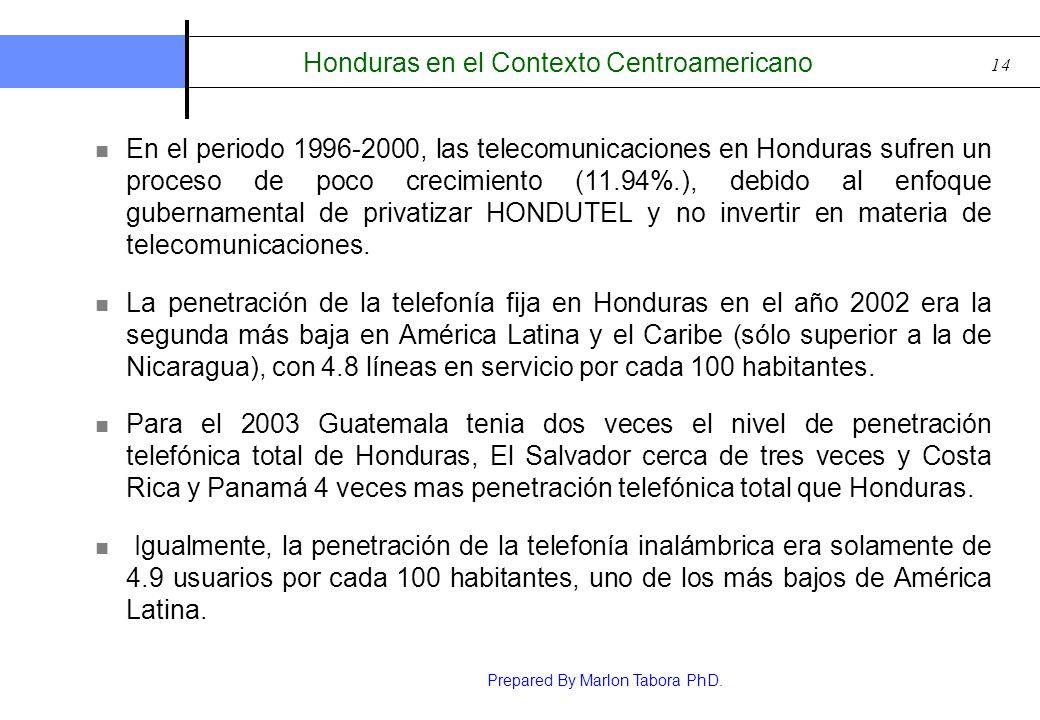Prepared By Marlon Tabora PhD. 14 Honduras en el Contexto Centroamericano En el periodo 1996-2000, las telecomunicaciones en Honduras sufren un proces