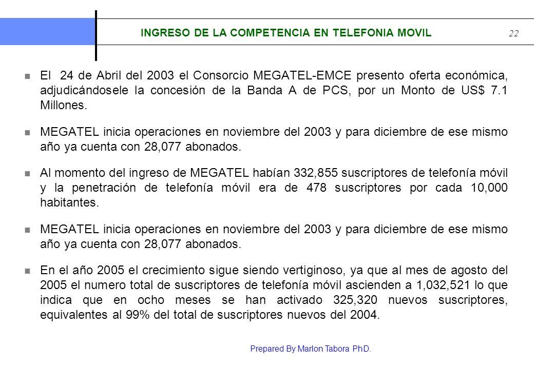 Prepared By Marlon Tabora PhD. 22 INGRESO DE LA COMPETENCIA EN TELEFONIA MOVIL El 24 de Abril del 2003 el Consorcio MEGATEL-EMCE presento oferta econó