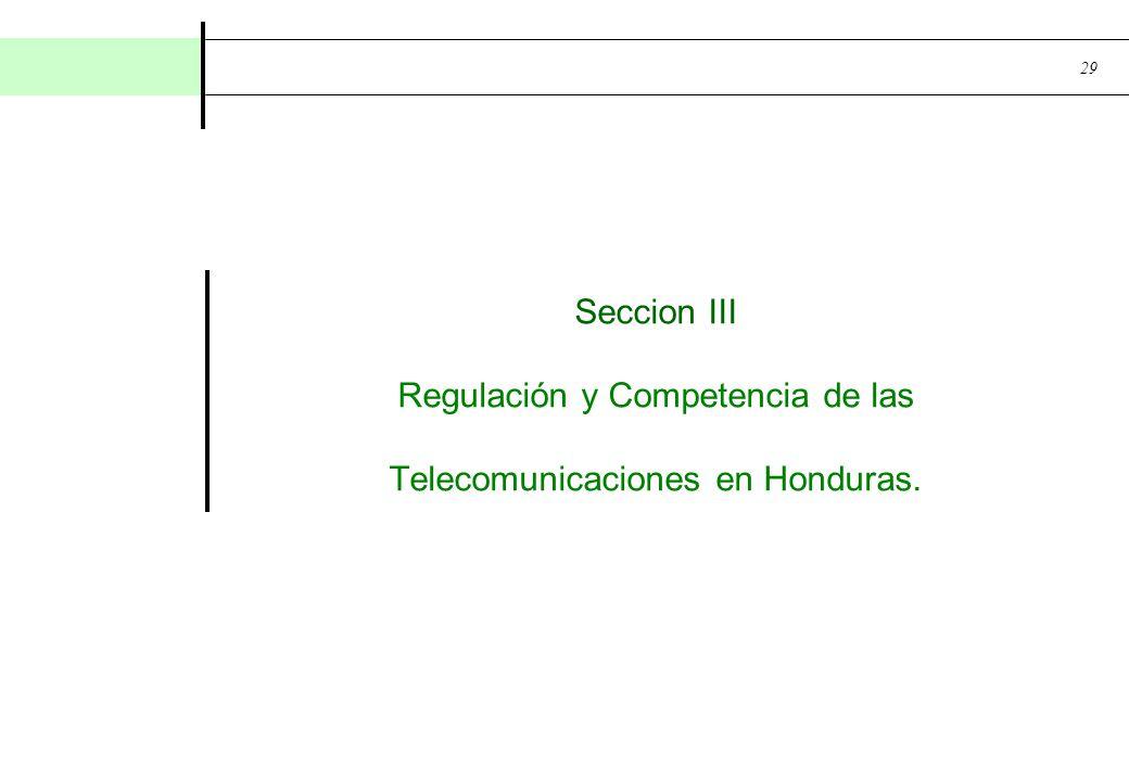 29 Seccion III Regulación y Competencia de las Telecomunicaciones en Honduras.