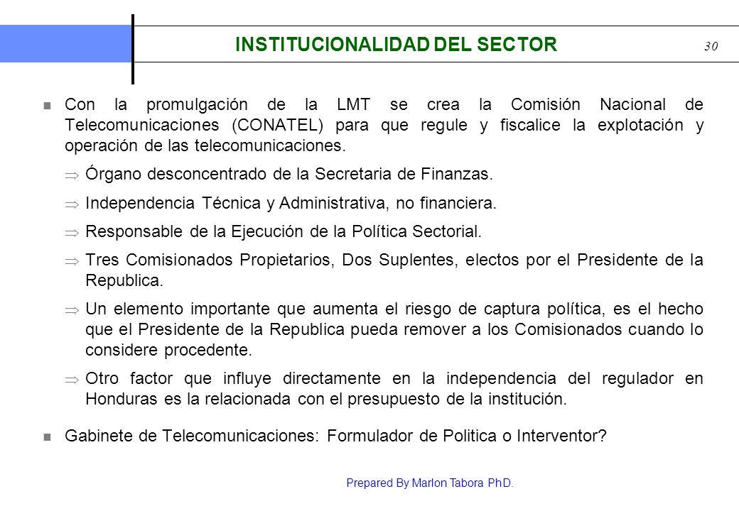 Prepared By Marlon Tabora PhD. 30 INSTITUCIONALIDAD DEL SECTOR Con la promulgación de la LMT se crea la Comisión Nacional de Telecomunicaciones (CONAT