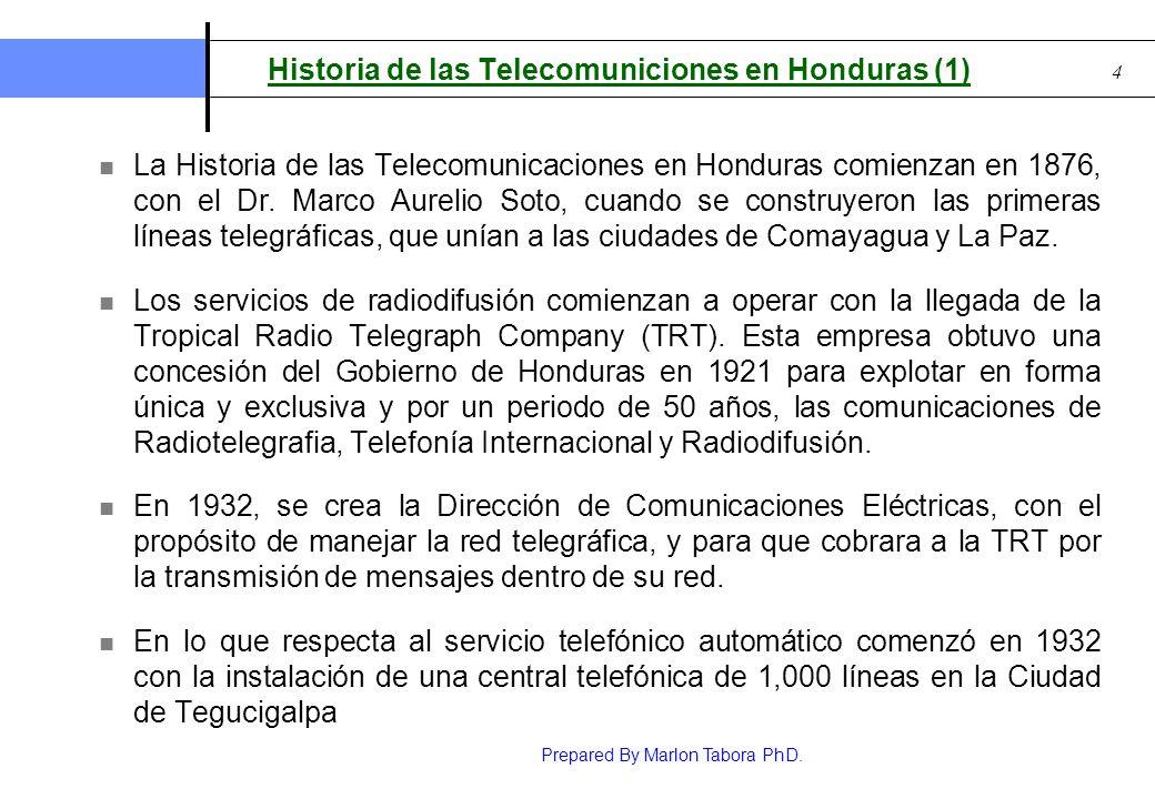 Prepared By Marlon Tabora PhD. 4 Historia de las Telecomuniciones en Honduras (1) La Historia de las Telecomunicaciones en Honduras comienzan en 1876,