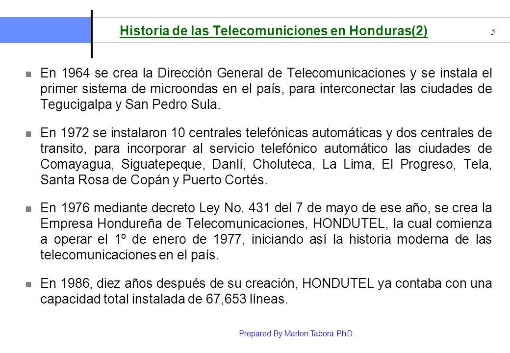 Prepared By Marlon Tabora PhD. 5 Historia de las Telecomuniciones en Honduras(2) En 1964 se crea la Dirección General de Telecomunicaciones y se insta