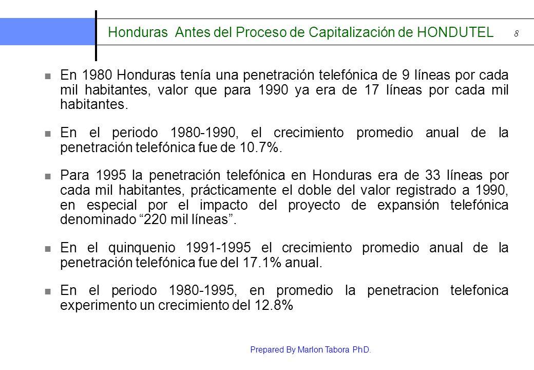 Prepared By Marlon Tabora PhD. 8 Honduras Antes del Proceso de Capitalización de HONDUTEL En 1980 Honduras tenía una penetración telefónica de 9 línea