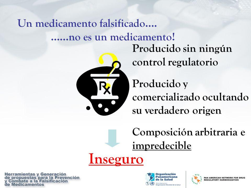 Un medicamento falsificado…. ……no es un medicamento! Producido sin ningún control regulatorio Producido y comercializado ocultando su verdadero origen