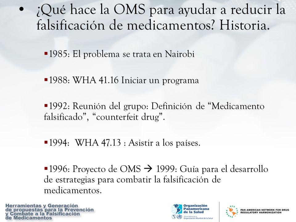 1985: El problema se trata en Nairobi 1988: WHA 41.16 Iniciar un programa 1992: Reunión del grupo: Definición de Medicamento falsificado, counterfeit