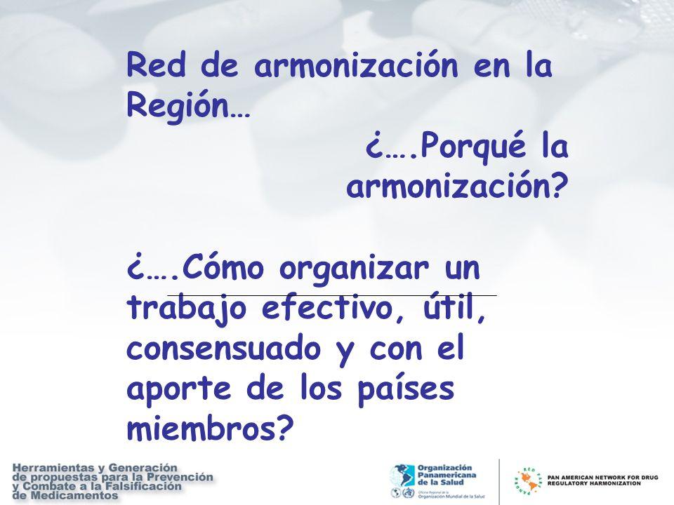 Red de armonización en la Región… ¿….Porqué la armonización? ¿….Cómo organizar un trabajo efectivo, útil, consensuado y con el aporte de los países mi