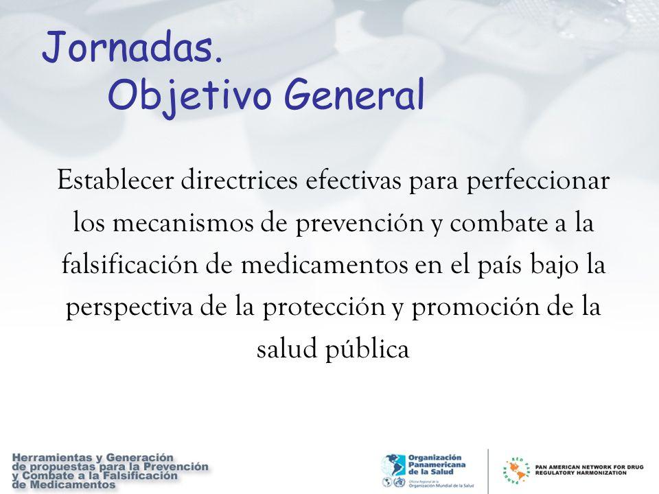 Jornadas. Objetivo General Establecer directrices efectivas para perfeccionar los mecanismos de prevención y combate a la falsificación de medicamento