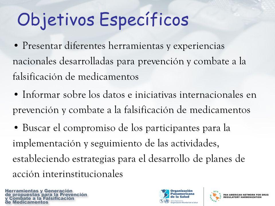 Objetivos Específicos Presentar diferentes herramientas y experiencias nacionales desarrolladas para prevención y combate a la falsificación de medica