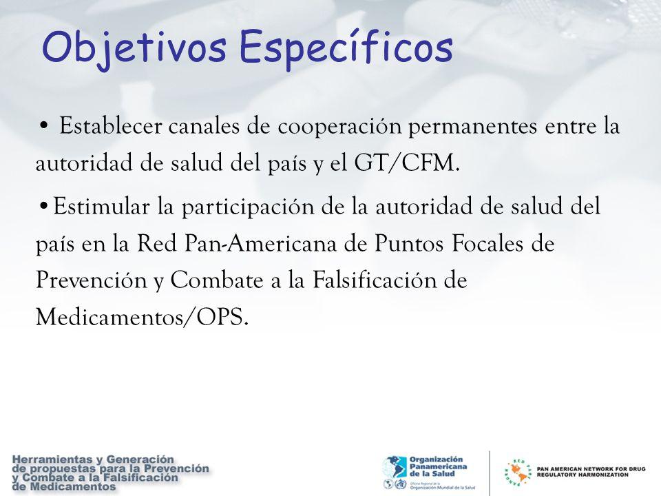 Objetivos Específicos Establecer canales de cooperación permanentes entre la autoridad de salud del país y el GT/CFM. Estimular la participación de la