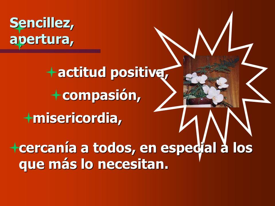 Sencillez, apertura, actitud positiva, compasión, misericordia, cercanía a todos, en especial a los que más lo necesitan.