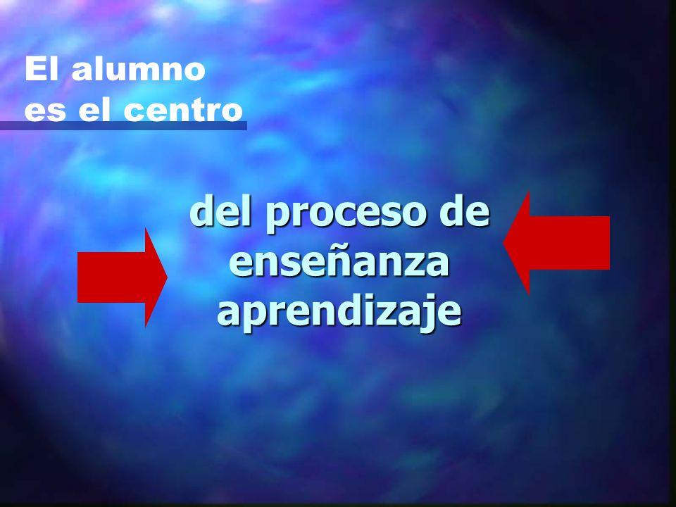 del proceso de enseñanza aprendizaje El alumno es el centro