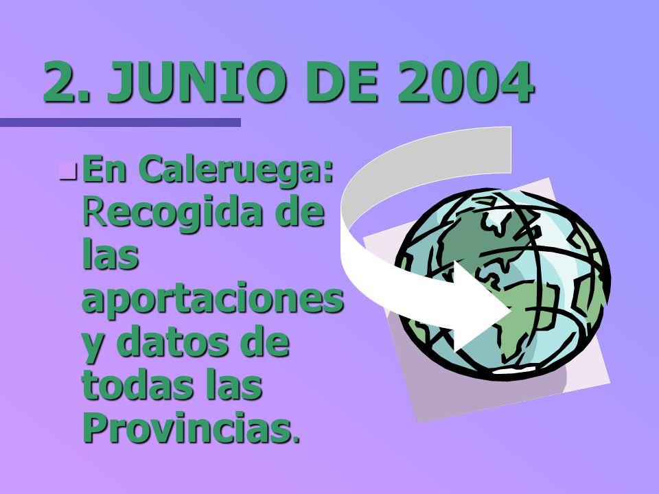 2. JUNIO DE 2004 En Caleruega: Recogida de las aportaciones y datos de todas las Provincias. En Caleruega: Recogida de las aportaciones y datos de tod