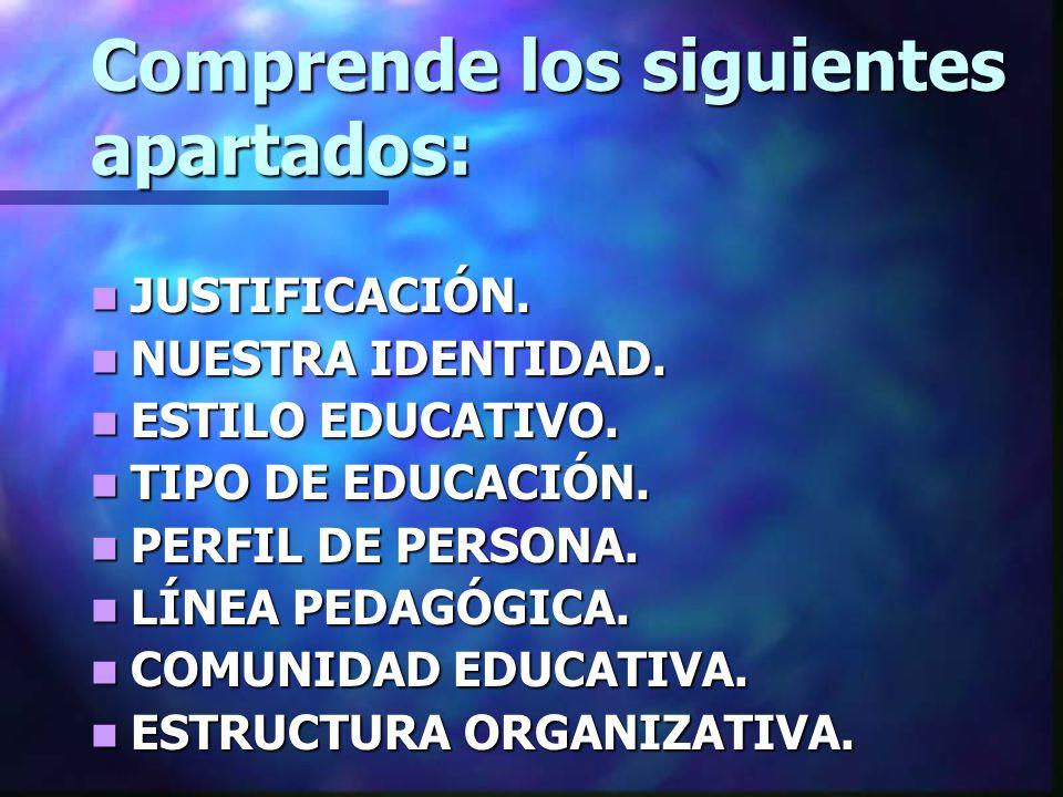 Comprende los siguientes apartados: JUSTIFICACIÓN. JUSTIFICACIÓN. NUESTRA IDENTIDAD. NUESTRA IDENTIDAD. ESTILO EDUCATIVO. ESTILO EDUCATIVO. TIPO DE ED