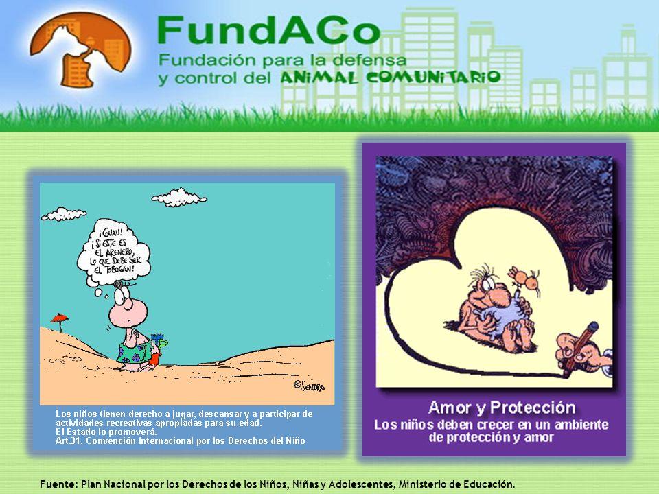 Fuente: Plan Nacional por los Derechos de los Niños, Niñas y Adolescentes, Ministerio de Educación.
