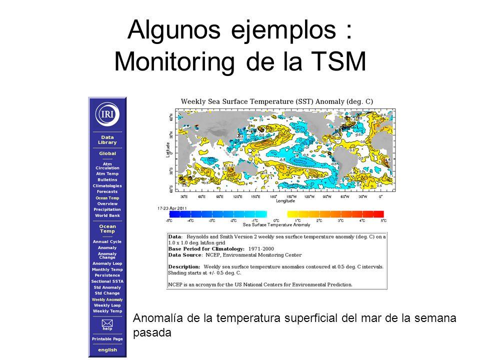 Algunos ejemplos : Monitoring de la TSM Anomalía de la temperatura superficial del mar de la semana pasada