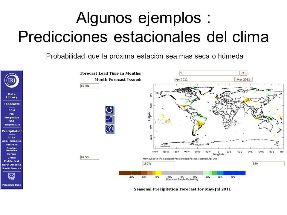 Algunos ejemplos : Predicciones estacionales del clima Probabilidad que la próxima estación sea mas seca o húmeda