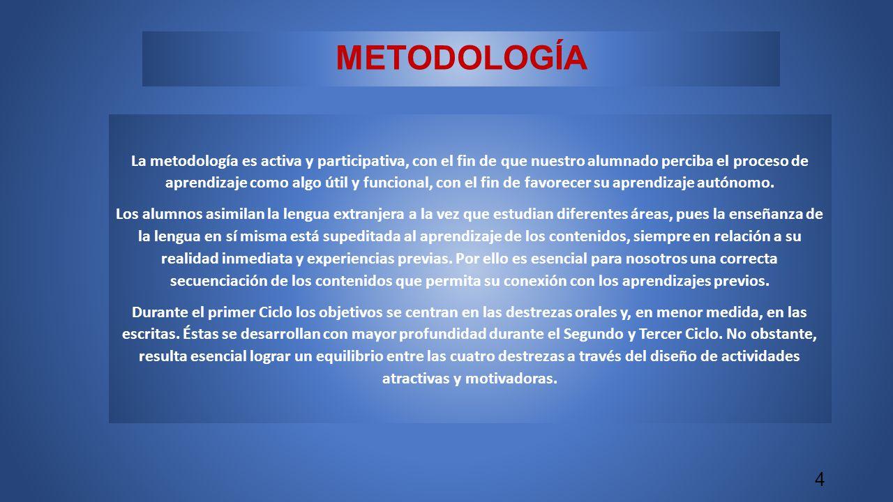 METODOLOGÍA La metodología es activa y participativa, con el fin de que nuestro alumnado perciba el proceso de aprendizaje como algo útil y funcional, con el fin de favorecer su aprendizaje autónomo.