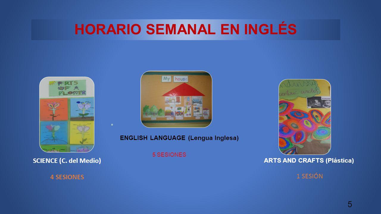 HORARIO SEMANAL EN INGLÉS ENGLISH LANGUAGE (Lengua Inglesa) 5 SESIONES 5 SCIENCE (C. del Medio) 4 SESIONES ARTS AND CRAFTS (Plástica) 1 SESIÓN