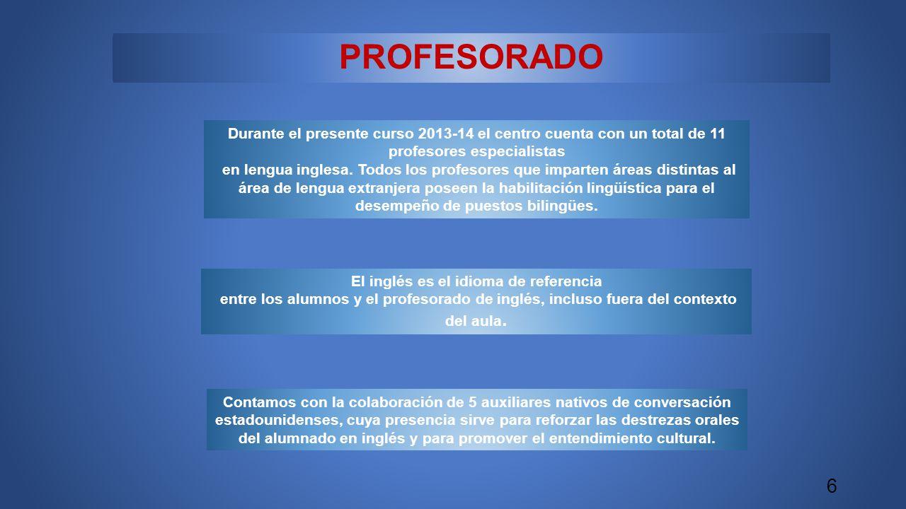 PROFESORADO Durante el presente curso 2013-14 el centro cuenta con un total de 11 profesores especialistas en lengua inglesa.